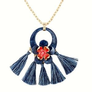 NWT Lilly Pulitzer Maritime Floral Tassel Necklace